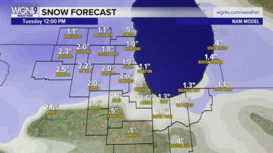 Up to 3 inches of snow likely for some parts of Chicago area by Tuesday