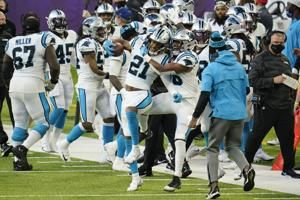 Beebe amends for fumble with TD as Vikes top Panthers 28-27