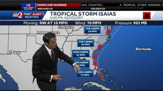 Isaias battles dry air as it approaches Florida