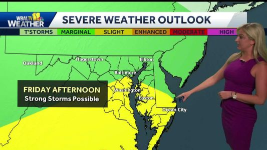 Strong storms headed to Baltimore-Metro