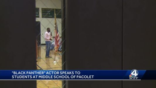 """""""Black Panther"""" actor speaks to students at Upstate middle school"""