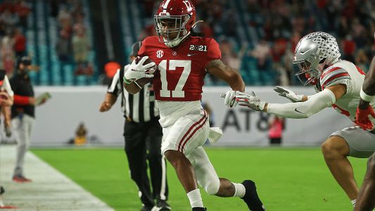 Alabama's Jaylen Waddle returns from injury for title game; NFL stars want him to shut it down