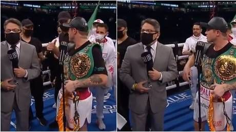 'The disrespect!' WATCH hilarious moment Canelo kicks out cheeky ring-crashers with foul-letter tirade