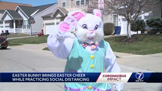 Easter bunny brings holiday cheer in neighborhoods while practicing social distancing