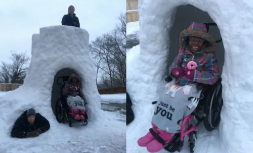 Dad makes wheelchair-accessible snow fort for his disabled children, warms hearts