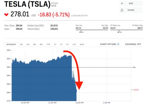 Tesla plunges after report says US has launched a criminal probe over Elon Musk's statements