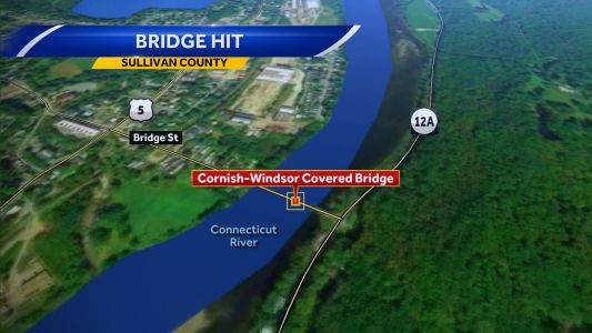 Historic Cornish covered bridge damaged 2nd time in month by truck, driver charged
