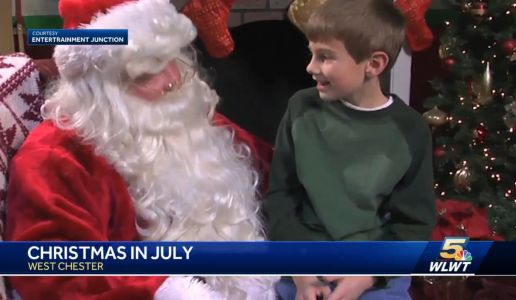 Santa arrives in West Chester for Christmas in July