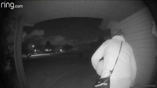 Halloween decoration heists being caught on surveillance video
