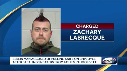 Man accused of pulling knife on employee after stealing sneakers at Kohl's in Hooksett
