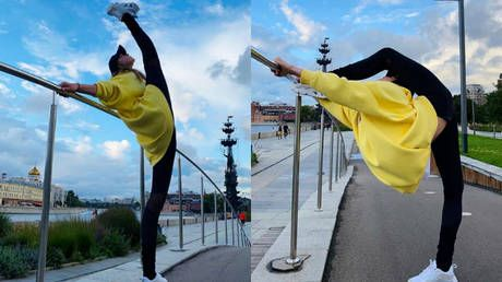 'Mixing business with pleasure': Russian gymnastics queen Aleksandra Soldatova holds impromptu street training in Moscow
