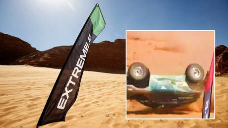 Massive crash: Female racer escapes after car flips in air and lands upside down at extreme rally in Saudi Arabian desert