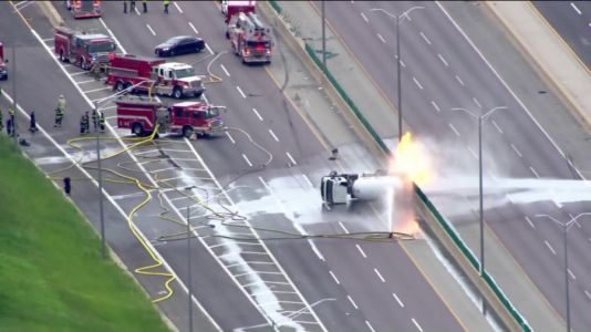 I-355 blocked after tanker truck rolls over, catches fire near Butterfield Road