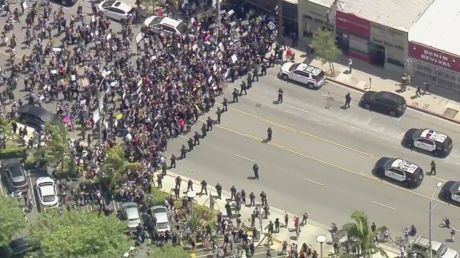 MASSIVE rallies block roads in Los Angeles as anti-police brutality protesters demand justice for George Floyd