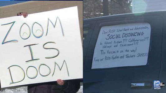 Racine teachers, parents hold dueling demonstrations about in-person learning