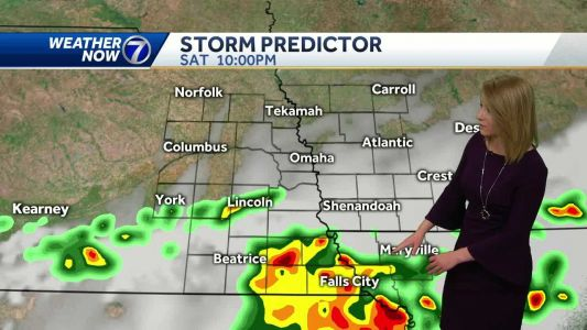 Storm chances south Saturday afternoon