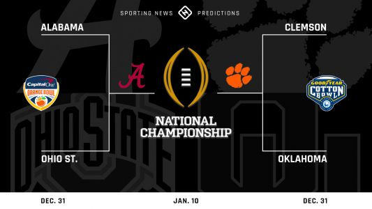 College football predictions for 2021 bowl games, Playoff semifinals, national championship