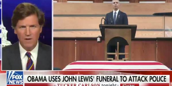 Tucker Carlson attacked Barack Obama as a 'greasy politician' for addressing civil rights and police racism at civil rights icon John Lewis' funeral