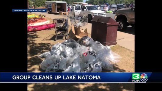 Volunteers get together to clean up Lake Natoma