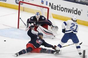 Point scores in OT to push Lightning over Blue Jackets 3-2