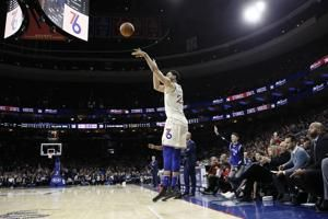 Simmons hits 3, scores 34 points to lead 76ers past Cavs