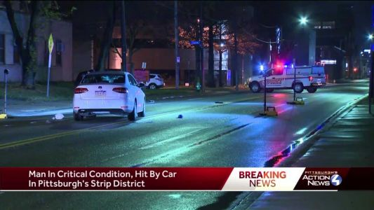 Man in critical condition after being hit by car in Strip District