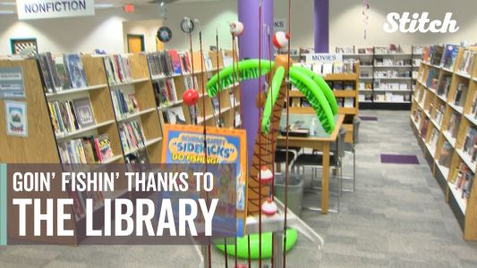 You can check out books and fishing rods at this library