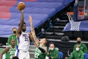 Embiid scores 42, leads 76ers past Celtics 117-109
