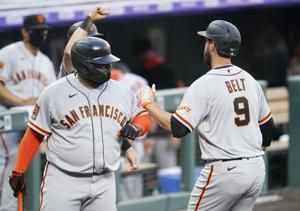 Belt's 3-run homer lifts Giants over Rockies 4-3