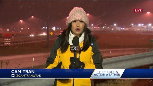 Snow falling in Washington County on Wednesday morning