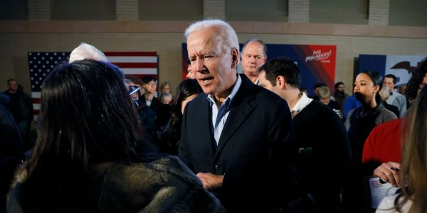 Joe Biden tore into an Iowa voter who claimed he sent his son Hunter to work in Ukraine, calling him a 'damn liar' and challenging him to a push-up contest