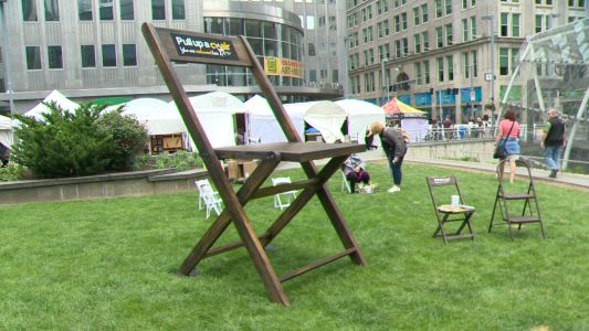 A twist on a Pittsburgh tradition: 8-foot-tall parking chair popping up around Pittsburgh
