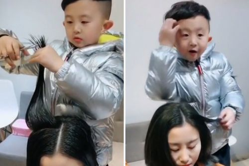 Six-year-old boy styles lady's hair like a pro