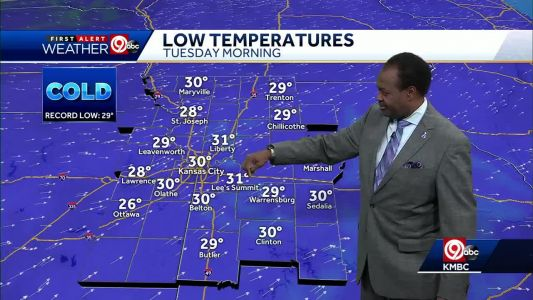 Temperatures will flirt with record lows Tuesday morning