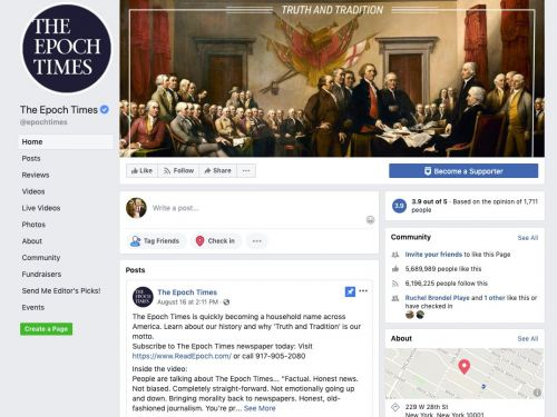 Facebook banned adverts from The Epoch Times after it bought $1.5 million of Trump ads in 6 months