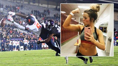 Beauty queen cheerleader sues uni over drunk football fans who 'treated her as a sex object' by 'groping her breasts and buttocks'