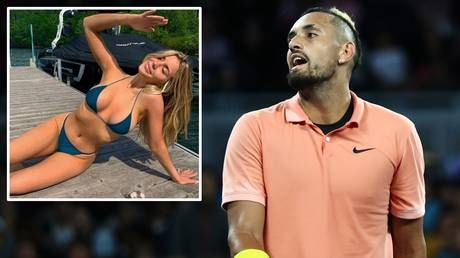 'Good company': Tennis bad boy Nick Kyrgios reveals pic of Eugenie Bouchard in his VIP box - before getting close to her SISTER