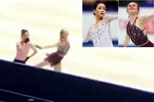 The moment a figure skater was allegedly slashed by her rival