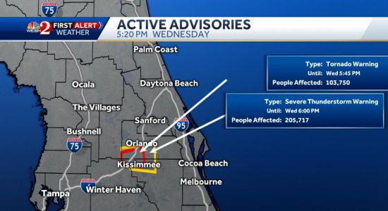 Tornado warning in effect for parts of Orange and Osceola counties