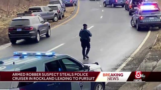 Armed robbery suspect steals police cruiser