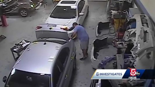 Video shows collision mechanic taking hammers to vehicles