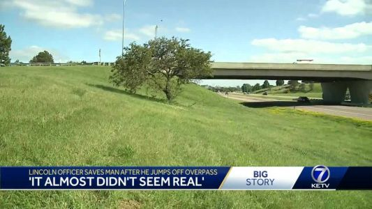 'It almost didn't seem real': Officer saves man after he jumps from bridge onto interstate
