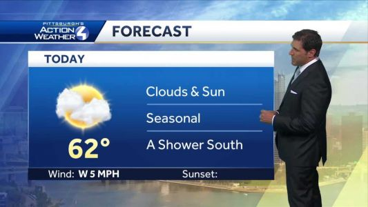 Clouds and sun with seasonal temperatures