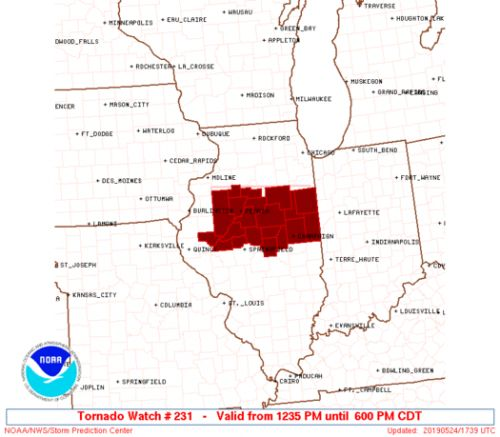 Tornado Watch for Central Illinois until 6PM CDT includes Ford, Iroquois and Livingston Counties