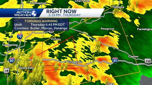 Tornado warning issued for Butler, Mercer, Venango counties