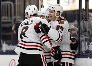 Hagel's OT goal lifts Blackhawks over Blue Jackets 4-3