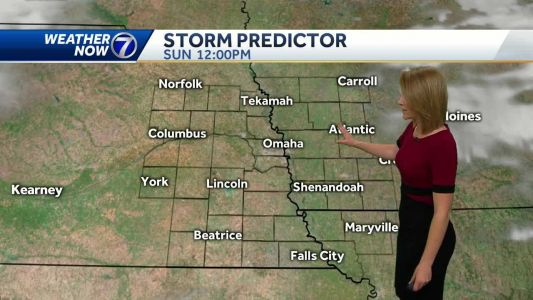 Warm and less humid today, a chance for t-showers Monday