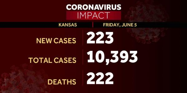 Kansas adds 223 new COVID-19 cases to top 10,300 total in first update since Wednesday