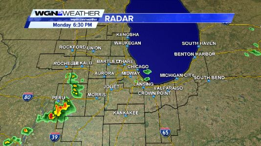 Band of showers/t-storms moving east south of I-88 and I-290 this Monday evening
