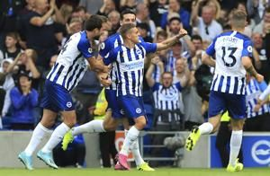 Trossard scores on EPL debut as Brighton draws with West Ham